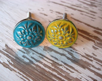 2 Silver Bohemian Knobs YOUR CHOICE of color Pictured in Turquoise and Bumblebee Cottage Farmhouse Style Drawer or Cabinet Hardware B-10