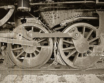 Masculine Wall Art Train Wheels-Railroad Track-Train Photography-Fine Art Print-Horizontal Art-Gifts for Him-Sepia Photography-Train Engine
