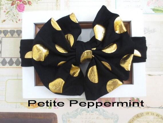 Black and Gold Baby Bow Headband, Baby Headband, Baby Head Wrap, Black Baby Headband,Black Toddler Headband,Black and Gold Dot Baby Turban
