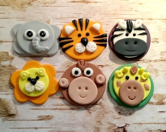 Jungle Fondant Animal Fondant Cupcake, Cake, Cookie Toppers. Set of 12 (one dozen) 2 of each little animal.