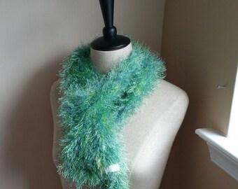 Green and Blue Fun Fur Scarf