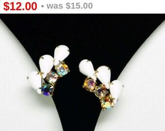 White Teardrop & AB Rhinestone Earrings - Clip on Style Mid Century Era