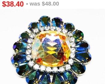 Blue Aurora Borealis Rhinestone Brooch - Designer Signed Vendome with Teardrop shaped Rhinestones - Vintage Jewelry