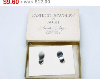 Avon Tack Pins - Spirited Steps - Footprints - Silvertone Shoes - Mint in Box with Sleeve Old Stock Jewelry
