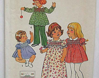 Vintage 70's Toddler's, Children's Girl's Dress in Two Lengths and Pants Simplicity 7239 Sewing Pattern Size 4 MISSING TRANSFER