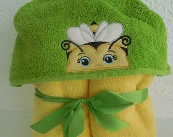 Yellow Bumble Bee Hooded Towel