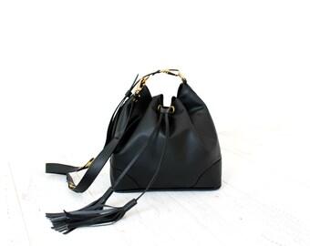 SALE Black Faux Leather Drawstring Bucket Bag. Adjustable Strap. Beautiful Everyday Bag. Crossbody Handbag. Blossom Drawstring Bag.