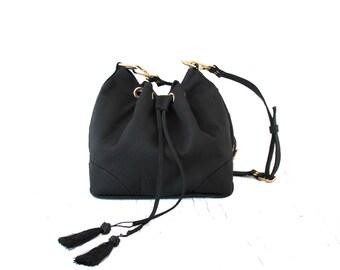 SALE Black Canvas Drawstring Bucket Bag. Shoulder Bag. Vegan Bag. Crossbody Handbag. Blossom Drawstring Bag.