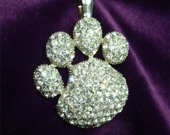 Dog Fancier NECKLACE Pendant RHINESTONE Paw Print Vintage