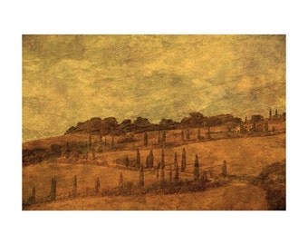 "Fine Art Sepia Photography of Tuscan Landscape - ""The Winding Tuscan Road Near La Foce"" - Vintage Style Print"