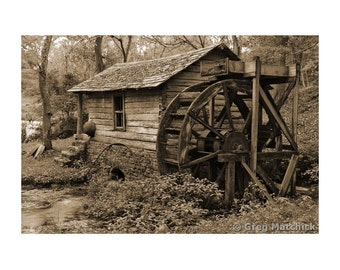 Fine Art Sepia Photography of the Old Reed Spring Mill and Waterwheel in the Missouri Ozarks
