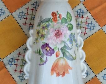 Floral Vase Vintage Vase Country Cottage Shabby Chic Cabbage Rose Secondhand Rose Scalloped Edging Orange Tulip
