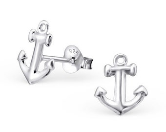 20% Off Sale Anchor Jewelry, Sterling Silver Anchor Ear Studs, anchor Post Earrings, Nautical Jewelry