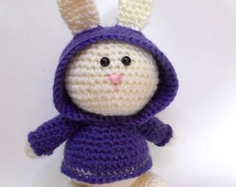 crocheted rabbit, cream rabbit, toy rabbit, Amigurumi rabbit, toy bunny, plush bunny, crocheted bunny, dressed rabbit, rabbit doll