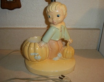 Vintage Adorable Chalkware Bo-Low Boy and Pumpkin Lamp Dated 1953 Very Nice!
