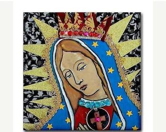 Hurry 50% Off- Mexican Folk Art Ceramic Tile  Virgin of Guadalupe Art  Mexican Talavera cOASTER