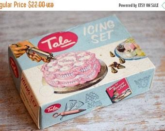 Vintage Tala Icing Set, Cake Decorating Kit, 1950s Cake Syringe and Icing Tips, English England Frosting Box Set, Kitsch Pink Blue Kitchen