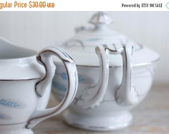 Valmont China Cream and Sugar Set, Royal Wheat Pattern, White with Platinum accents, Pastel Blue, Gray and Lavender, Vintage Tea Party,