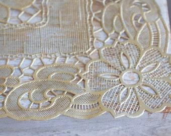 Vintage Table Runner, Gold Tablerunner, Art Nouveau Flowers, Hollywood Regency Decor, Cut Out Design