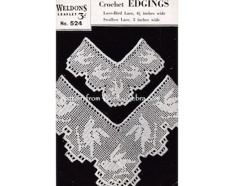 Vintage Crochet Pattern for lace trim or lace edging with swallows and love birds on a filet crochet mesh PDF 867 from WonkyZebra