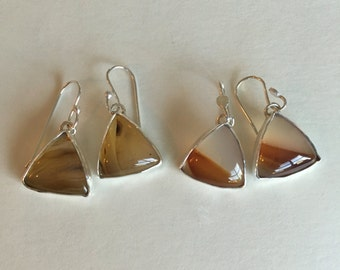 Montana Agate Earrings- montana agate, agate jewelry, handmade earrings, stone jewelry, sterling silver, agate earrings, sterling earrings