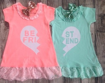 Best Friend dressses kids bff white glitter Best Friend Shirts 2 Kids lace trim dresses glitter Best Friend bff dress Best Friend dress