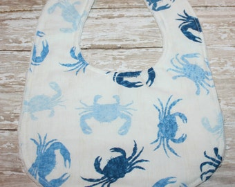 Nautical baby bib - crab baby bib- boy baby bib- baby bib- bibs- baby-toddler-personalized