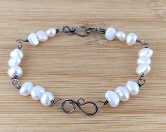 White Freshwater Pearl Oxidized Sterling Silver Bracelet. Antique Silver. Wire Wrapped. Swirl Figure Eight Infinity Bracelet.