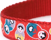 Happy Matryoshka in Red Dog Collar, Stacking Dolls Pet Collar, Russian Design Collar