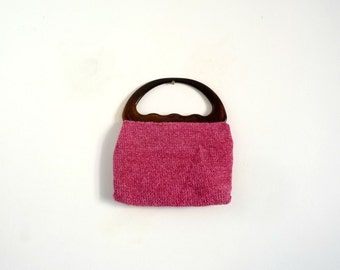 Vintage Handbag 1950s/1960s Cotton Chenille and fabric Pink Raspberry