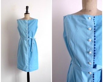Vintage 1960s Pencil Summer Blue Cotton Dress  / Size S