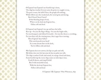 Whitman poem print, O Captain, My Captain typography