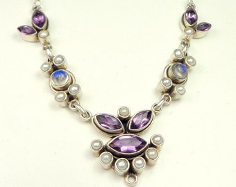 Vintage Sterling Silver Necklace, Amethyst, Moonstone & Seed Pearl Necklace, Natural Gemstones,Signed, from India