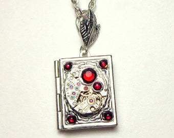Steampunk  Locket Necklace, Vintage Watch, Ruby Jeweled,Red Swarovski Crystals,Book Locket,Antiqued Silver,Edwardian Fantasy,Gothic Jewellry