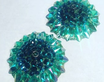 Green Aurora  Rhinestone BURLESQUE couture pasties