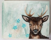 folk art Original deer painting whimsical mixed media art painting on wood canvas 8x10 inches - Winter Enchantment