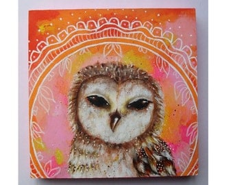 Original folk art owl painting mixed media art painting on wood canvas 6x6 inches - Summer Dreams
