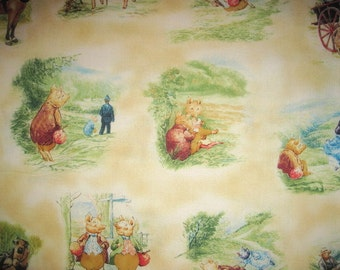 7/8 Yard PIGLING BLAND Cotton Fabric, pigling bland fabric, ecru scenic fabric, beatrix potter fabric, fabric remnant, beatrix potter