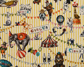 "Circus Japanese fabric -   50cm or 19"" length by 110cm or 42""wideth"