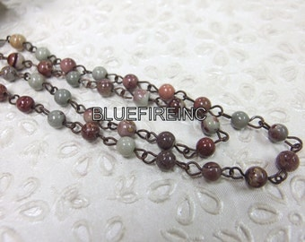 3 feet 6mm Smooth Picasso Jasper beads with Antique Cooper Wire Chain // Beaded Gemstone Jewelry Chain // Unfinished Chain