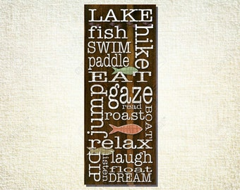 Lake fish swim paddle hike eat relax fun Gallery Mount Canvas 8x20 Word Art Print - things to do at the lake