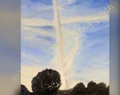 """Cross in clouds Print of my Original Oil Painting """"Signs from Above"""" - cross, clouds, sky, blue, trees"""