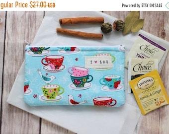 Summer Sale Tea wallet, Tea Time luxurious tea zipper pouch Travel tea holder Tea bag wallet fabric pouch Tea Lover gift Hostess party gift