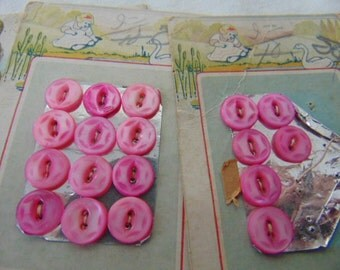 Card Pink Diminutive Carved Mother of Pearl Buttons