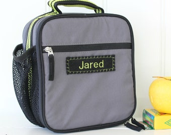 Lunch Bag With Monogram Pottery Barn Classic  -- Gray/Green