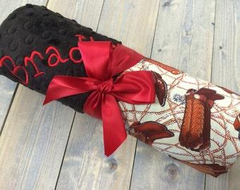 Cowboy Baby Blanket, Cowboy Boot Blanket, Western Baby Blanket, Minky Cowboy Personalized Baby blanket