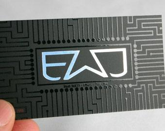 200 Business Cards - spot UV and metallic foil - 14PT matte stock -  custom printed - you choose foil color