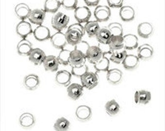 100 silver plated crimp tube beads 1.5mm