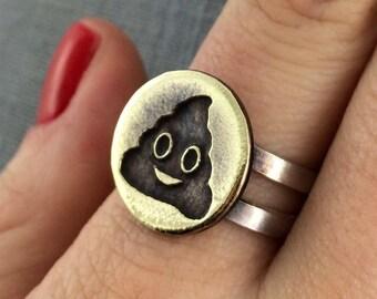 Turd Emoji Ring in Sterling Silver + Bronze