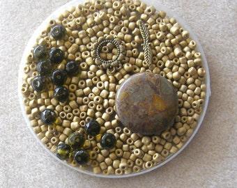 Bamboo Jasper, Coin Pendant, Glass Beads, Glass Seed Beads, Jewelry Making Beads, Craft Supply, DIY Jewelry Kit, Bead Supply, Seed Bead Kit